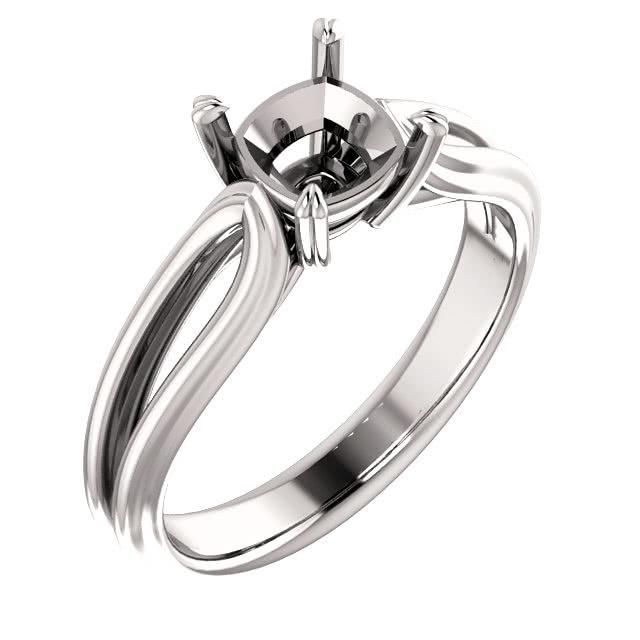 Platinum Solitaire Modern Split Shank Engagement Ring