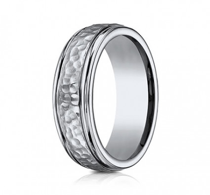 7mm Titanium Ring With Hammered Finish | A67502T