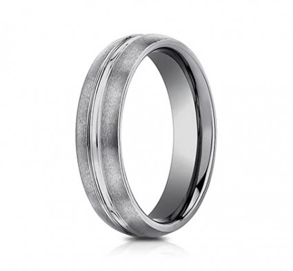 6mm Tungsten Ring With Satin Finish & High Polished Center | ACF56411TG
