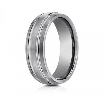 7mm Tungsten Ring With Three Rows of Satin Finish | ACF57444TG