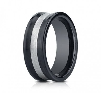 8mm Ceramic Concave Ring With Silver Inlay | ACF58482CM