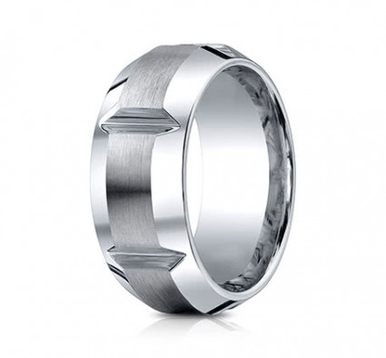 10mm Cobalt Ring With Satin Finish Sections & Beveled Edge | ACF610449CC
