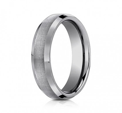6mm Tungsten Ring With Satin Finish & Beveled Edges | ACF66416TG