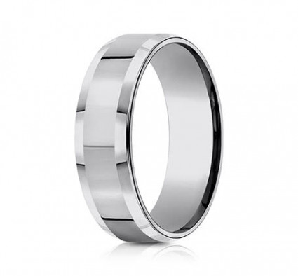 7mm Tungsten Ring with High Polish & Beveled Edge | ACF67426TG