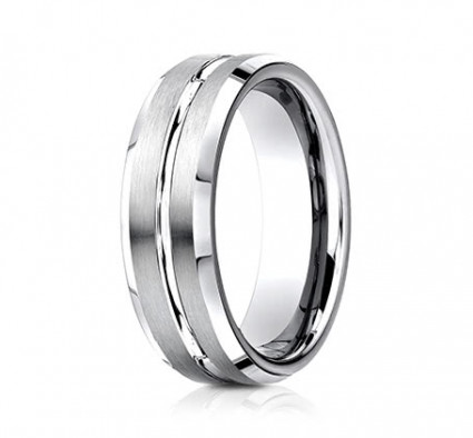 7mm Cobalt Ring With Satin Finish & Beveled Edges | ACF67439CC