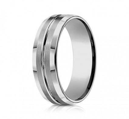 7mm Tungsten Ring With Satin Finish & High Polished Center | ACF67439TG