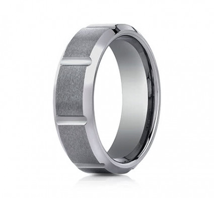 7mm Tungsten Ring With Satin Finish Sections & Beveled Edge | ACF67449TG