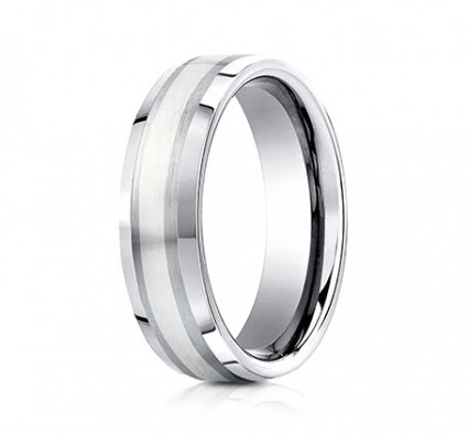 7mm Cobalt Ring With Silver Inlay | ACF67462CC