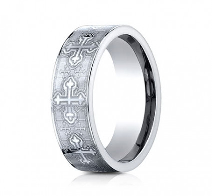 7mm Cobalt Ring With Cross Designs | ACF67553CC