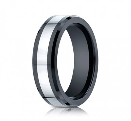 7mm Cobalt Ring With Ceramic Beveled Edge | ACF67860CMCC