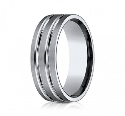 8mm Titanium Ring With Satin Finish & Two High Polished Rows | ATICF68423T