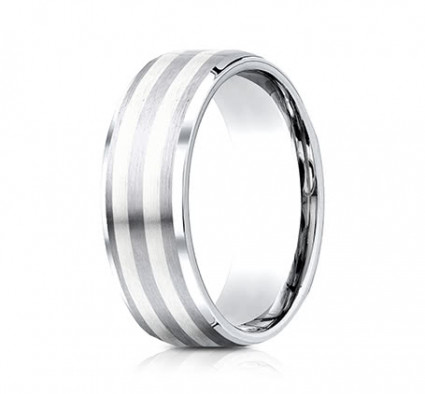 8mm Cobalt Ring With Silver Inlay | ACF68461CC