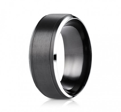 9mm Black Cobalt Ring With Satin Center & Beveled Edge | ACF69486BKCC