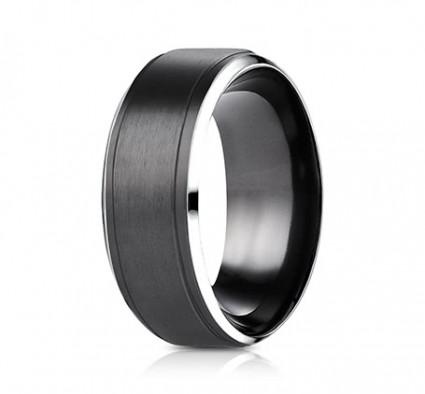 9mm Black Cobalt Ring With Satin Center & Beveled Edge | ACF69486BKCC