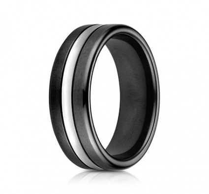 7mm Black Cobalt Ring with White Center | ACF717769CC