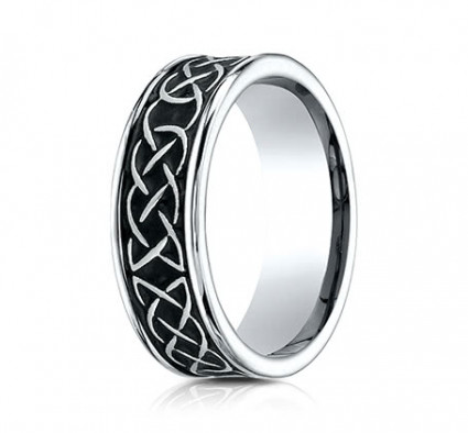7mm Cobalt Ring With Tribal Designs | ACF97458CC