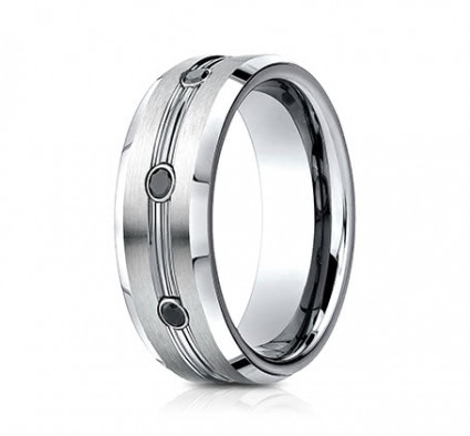 7.5mm Cobalt Ring With Satin Finish & Three Diamonds | ACF975622CC