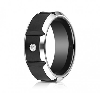 8mm Black Cobalt Ring With Concave sections & One Diamond | ACF98492BKCC