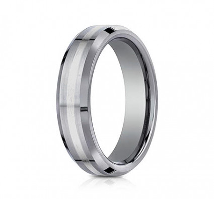 6mm Tungsten Ring With White Gold Inlay | AEWCF66426TG