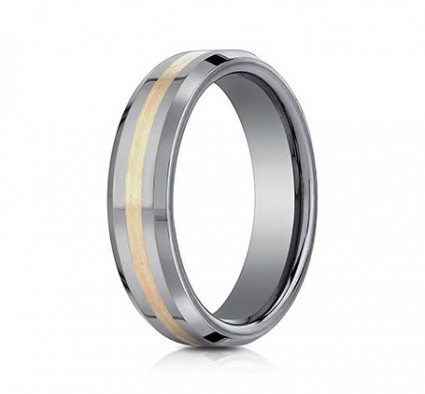 6mm Tungsten Ring With Yellow Gold Inlay | AEYCF66426TG