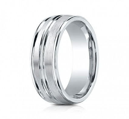8mm Cobalt Ring With Satin Finish & High Polish Center & Edges | ARECF58180CC