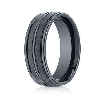 8mm Ceramic Ring With Satin Finish & High Polish Center & Edges | ARECF58180CM