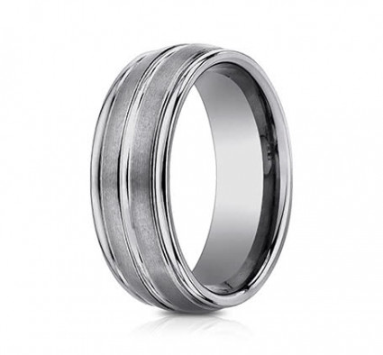 8mm Tungsten Ring With Satin Finish & High Polish Center & Edges | ARECF58180TG
