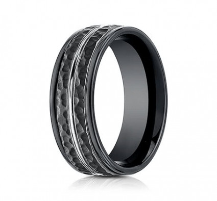 8mm Black Cobalt Ring With Hammered Finish | ARECF58186CC