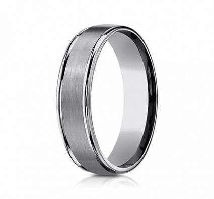 6mm Tungsten Ring With Satin Finish & High Polish | ARECF7602STG