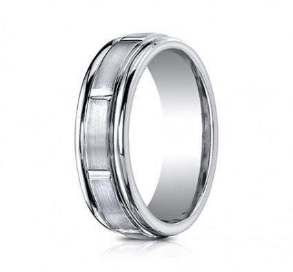 7mm Cobalt Ring with Satin Finish Sections | ARECF77452CC