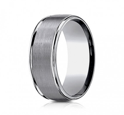 8mm Tungsten Ring With Satin Finish & High Polish | ARECF7802STG