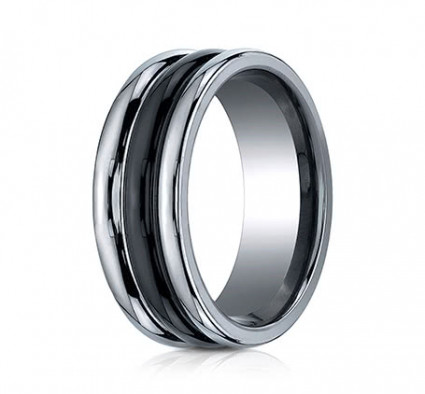 8mm Tungsten Ring with Ceramic Inlay | ARECF78862CMTG