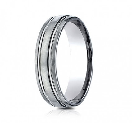 6mm Titanium Ring With Satin Finish & Beveled Edges | ATICF56444T