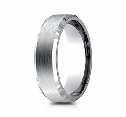 7mm Titanium Ring With Satin Finish & Beveled Edges | ATICF67416T