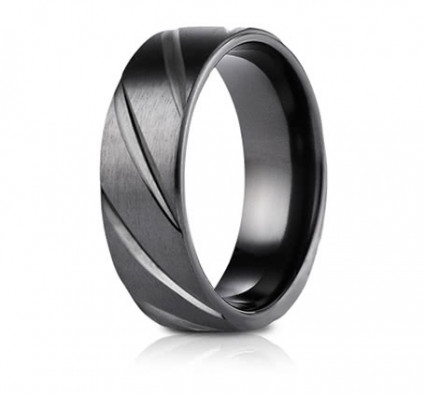 7.5mm Black Titanium Candy Cane Pattern Ring | ATICF67550BKT