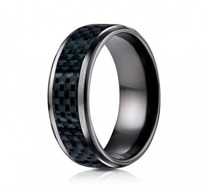 8mm Black Titanium Carbon Fiber Ring | ATICF68900CFBKT