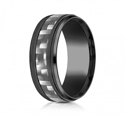9mm Black Titanium Ring With Carbon Fiber | ATICF69488CFBKT