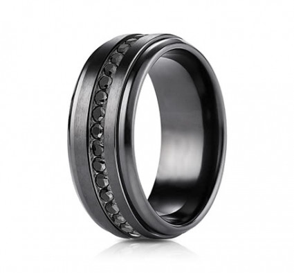 8mm Black Titanium Ring with Black Cubic Zirconia | ATICF69491BKT