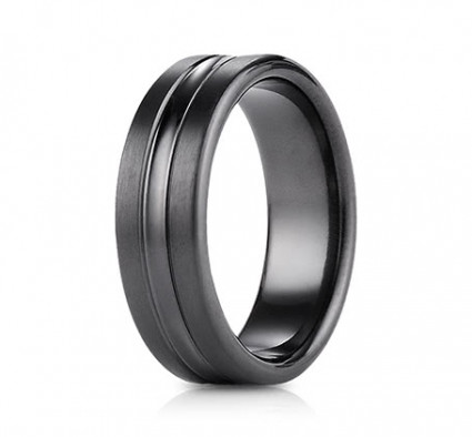 7.5mm Black Titanium Ring With High Polish Center | ATICF717505BKT