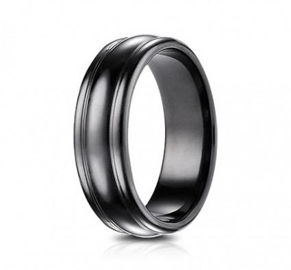 7.5mm Black Titanium Ring With Rounded Center | ATICF717554BKT
