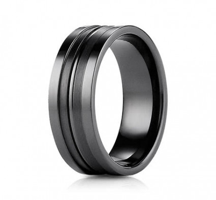 8mm Black Titanium Ring With High Polish & Satin Finish | ATICFSE58180BKT