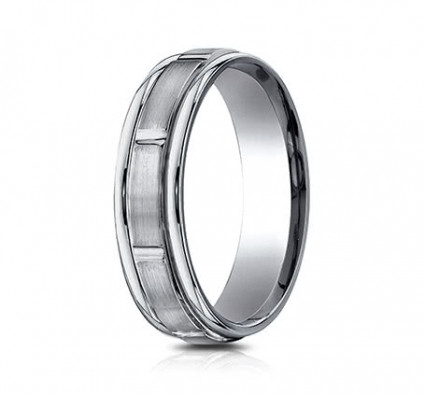 6mm Titanium Ring with Satin Finish Sections | ATIRECF76452