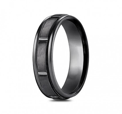 7mm Black Titanium Ring with Satin Finish Sections | ATIRECF77452BKT