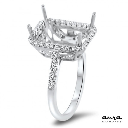 Rectangular Engagement Ring with Halo for 7 ct Stone | AR14-071
