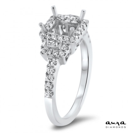 Square Halo Engagement Ring for 5.5 mm Center Stone | AR14-088