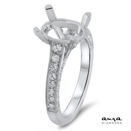 Oval Halo Engagement Ring for 3 ct Center Stone   AR14-069