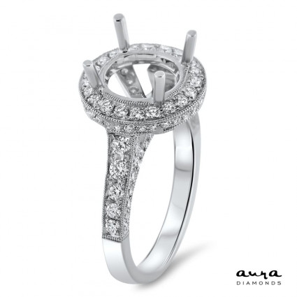 Round Halo Engagement Ring for 5 ct Center Stone   AR14-068