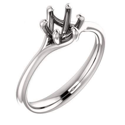 14kt White Gold Modern Solitaire Engagement Ring | AW122118.014