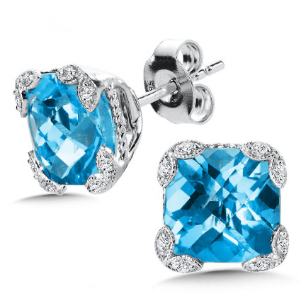 Blue Topaz & Diamond Earrings in 14K White Gold | ACGE012W-DBT