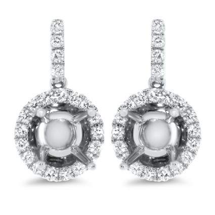Halo Dome Diamond Earrings for 1 Carat Stone | AE14-005
